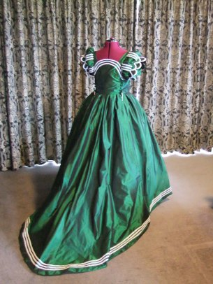 Green french gown back