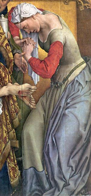 Rogier van der Weyden, Deposition Altarpiece, 1443 - detail Mary Magdelane