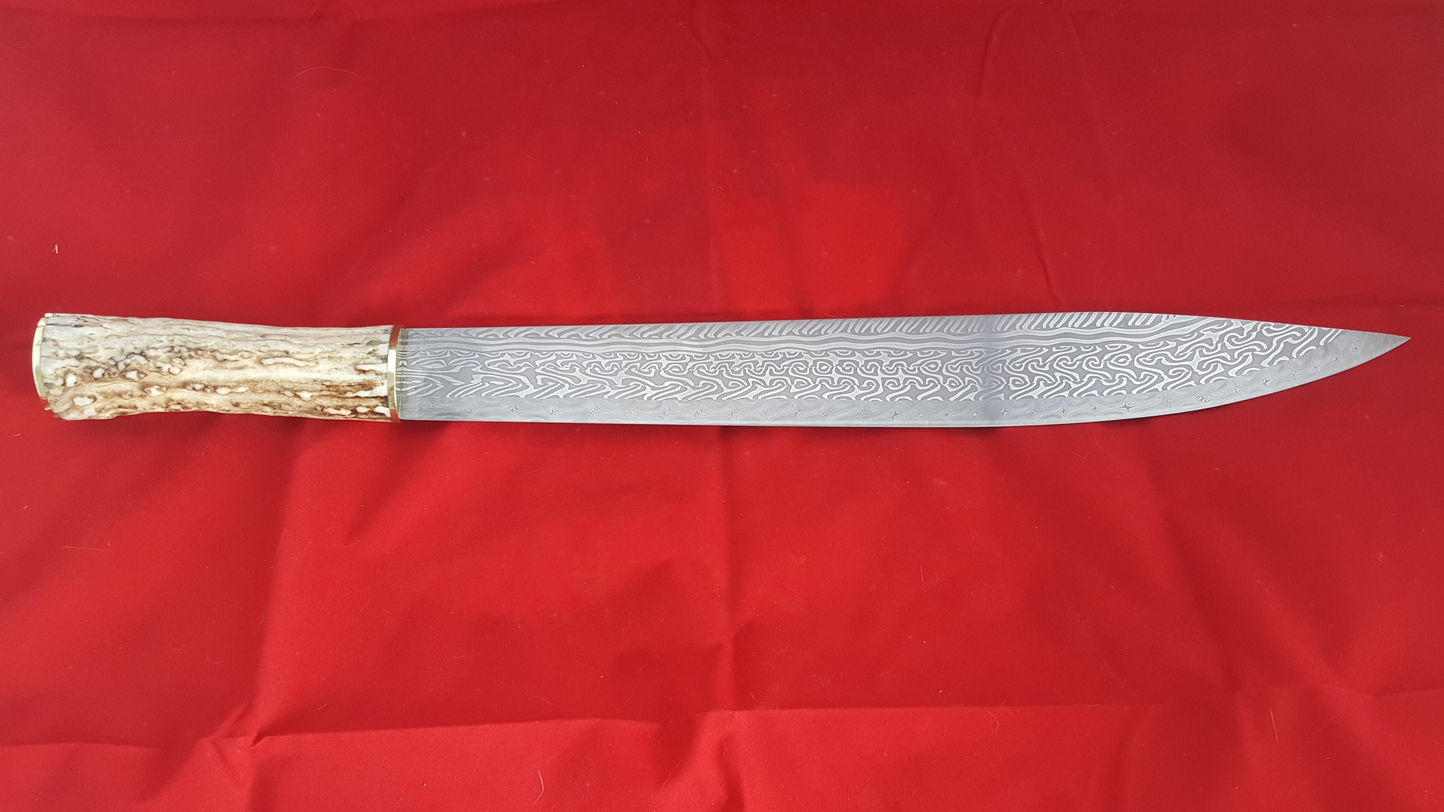 Large seax (56cm full length) with antler handle.