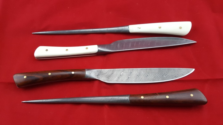 Bone handled and wood handled knife and pricker sets, 2020