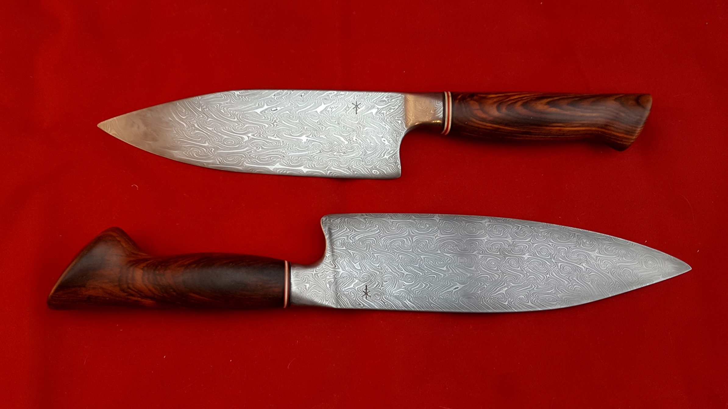 Two large chef's knives,