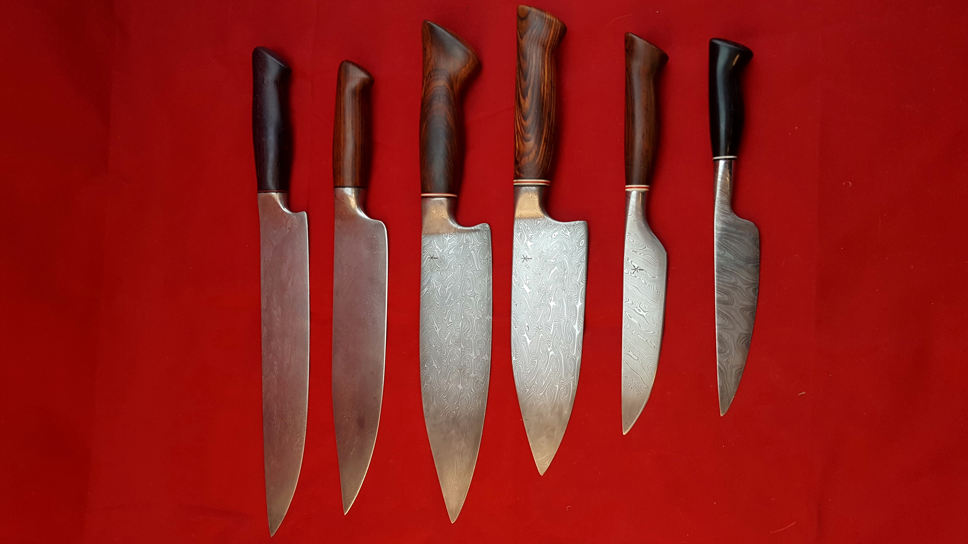 Selection of chef's knives of different sizes
