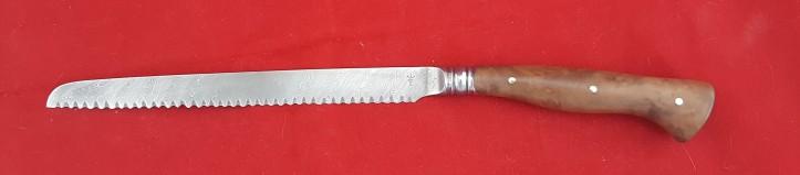 Bread Knife OL 330 mm handle stabilized burl.