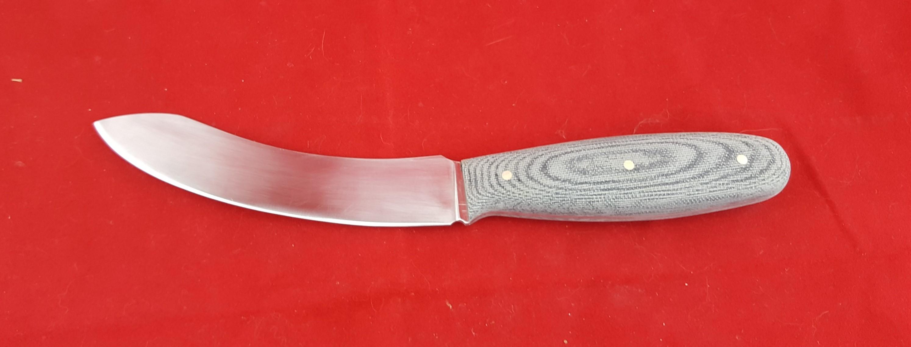 Hardcore Skinner 260 mm OL 1084 blade Canvas Micarta Handle. Made to order