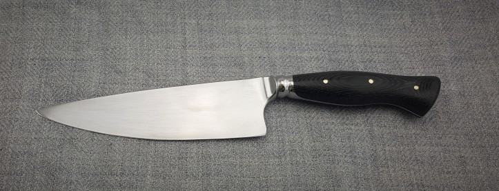 Chef Knife; Black Canvas Micarta Handle on Carbon steel Blade